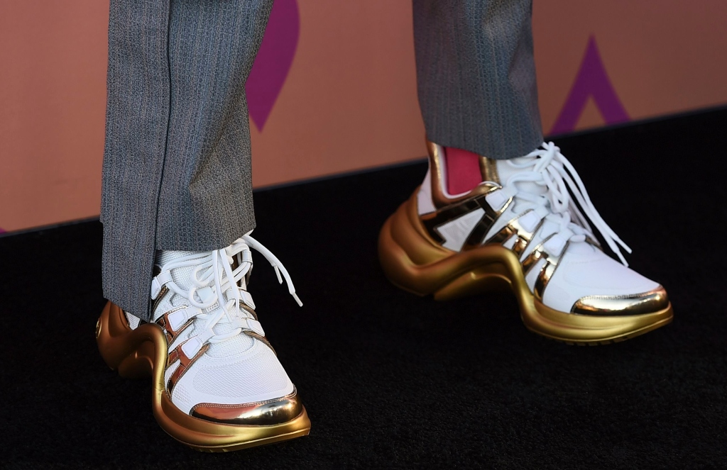 jaden smith, louis vuitton golden archlight sneakers