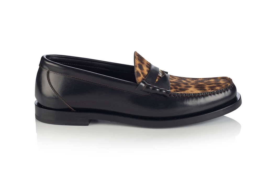 Jimmy Choo, milan fashion week, men's penny loafers, animal print