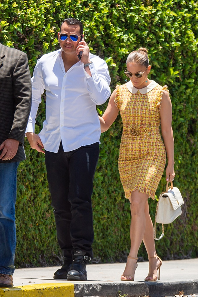 Jennifer Lopez, gucci yellow tweed dress, chanel purse, nude strappy sandals, celebrity style, may 2019, and Alex Rodriguez are seen arriving at their children's graduation event in Miami. Alex Rodriguez was seen smiling while on his phone as Jennifer Lopez gave a wave as she makes her way into a building.Pictured: Jennifer Lopez,Alex RodriguezRef: SPL5094649 310519 NON-EXCLUSIVEPicture by: AM / SplashNews.comSplash News and PicturesLos Angeles: 310-821-2666New York: 212-619-2666London: 0207 644 7656Milan: 02 4399 8577photodesk@splashnews.comWorld RightsJennifer Lopez and Alex Rodriguez are seen arriving at their children's graduation event in Miami. Alex Rodriguez was seen smiling while on his phone as Jennifer Lopez gave a wave as she makes her way into a building.Pictured: Jennifer Lopez,Alex RodriguezRef: SPL5094649 310519 NON-EXCLUSIVEPicture by: AM / SplashNews.comSplash News and PicturesLos Angeles: 310-821-2666New York: 212-619-2666London: 0207 644 7656Milan: 02 4399 8577photodesk@splashnews.comWorld Rights
