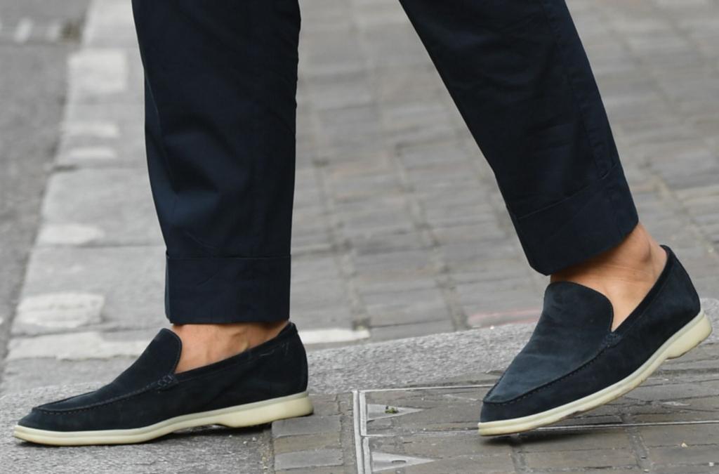 Johannes Huebl, navy suede loafers, men's london fashion week