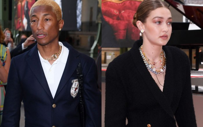 gigi hadid, pharrell williams, karl lagerfeld tribute, karl for ever, front row, men's paris fashion week spring 2020