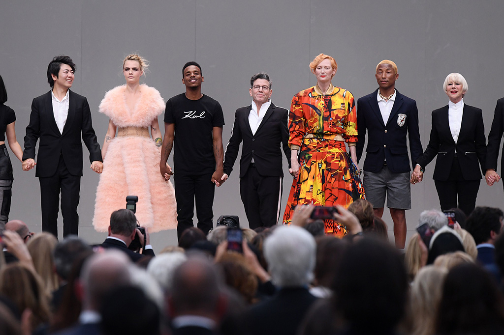Lang Lang, Cara Delevingne, Lil Buck, Tilda Swinton, Pharrell Williams and Helen Mirren on stageKarl For Ever memorial, Runway, Paris Fashion Week Men's, France - 20 Jun 2019