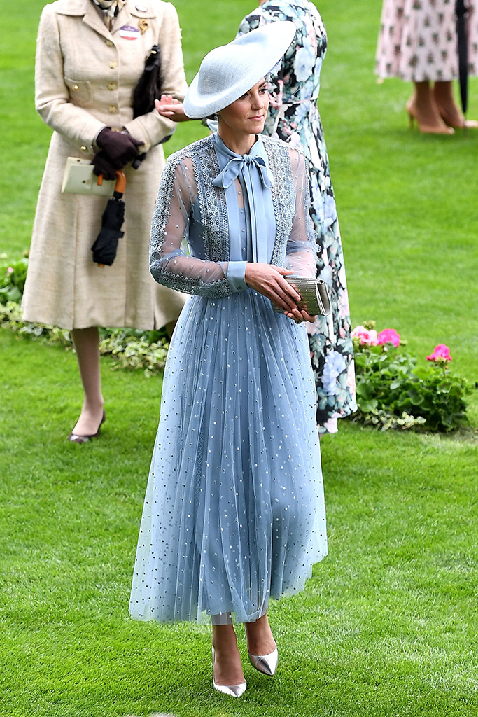 kate middleton, royal ascot, celebrity style, elie saab resort 2020 dress, philip treacy hat, silver pumps, Catherine Duchess of CambridgeRoyal Ascot, Day 1, UK - 18 Jun 2019