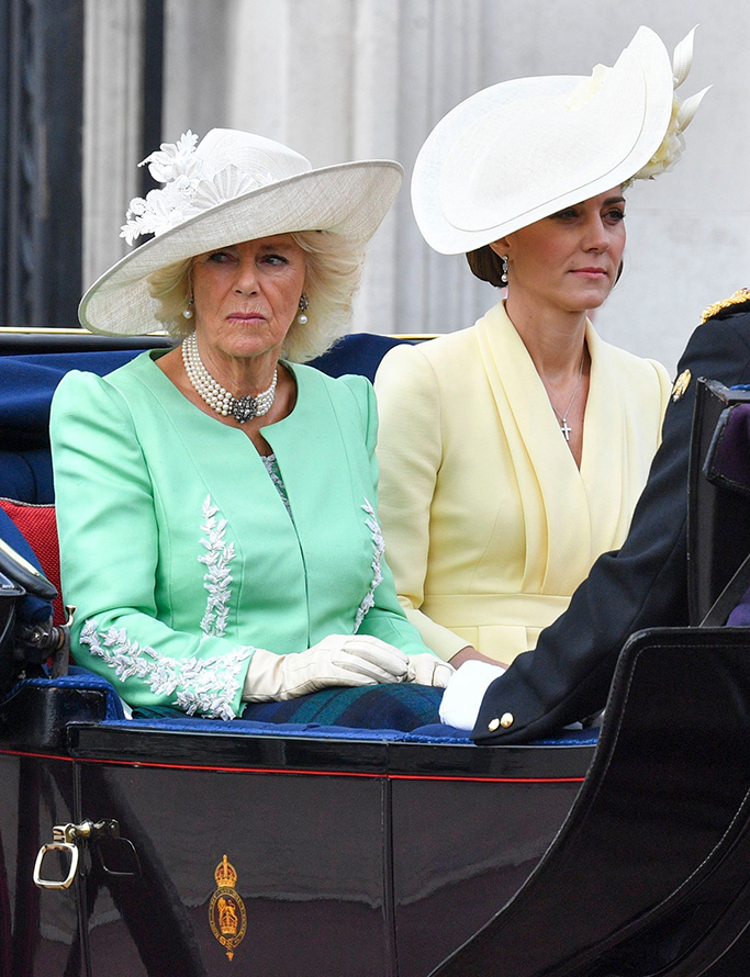 kate middleton, camilla parker bowles, Camilla Duchess of Cornwall, Catherine Duchess of CambridgeTrooping the Colour ceremony, London, UK - 08 Jun 2019