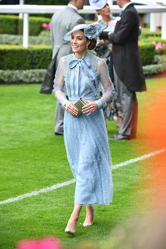 Kate Middleton, elie saab resort 2020 dress, celebrity style, silver pumps, philip treacy hat, Catherine Duchess of CambridgeRoyal Ascot, Day 1, UK - 18 Jun 2019Wearing Elie Saab, Custom