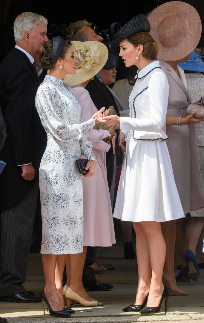 Camilla Duchess of Cornwall, Queen Maxima, Catherine Duchess of Cambridge, Order of the Garter service, prada pumps, Catherine Walker Liza coat