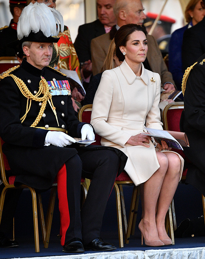 catherine walker white coat, gianvito rossi praline pumps, Catherine Duchess of CambridgeBeating Retreat Ceremony, London, UK - 06 Jun 2019