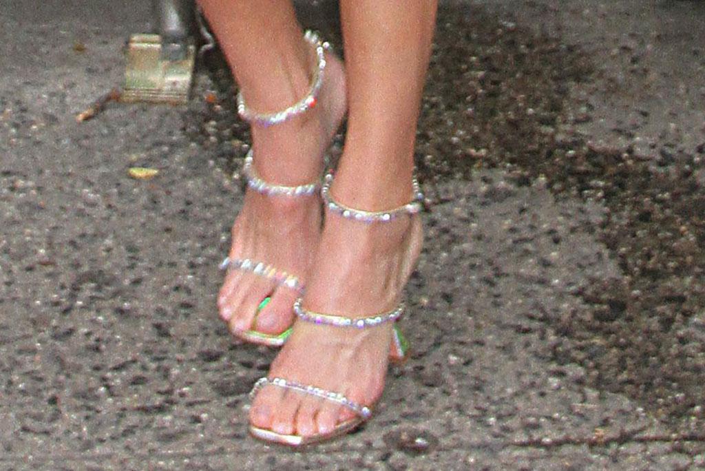 Kendall Jenner, amina muaddi glinda sandals, celebrity shoe style, pedicure, feet, nyc