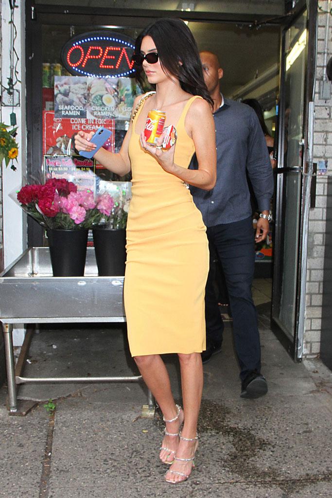 Kendall Jenner, bec + bridge orange dress, amina muaddi glinda sandals, celebrity style, street style, june 2019