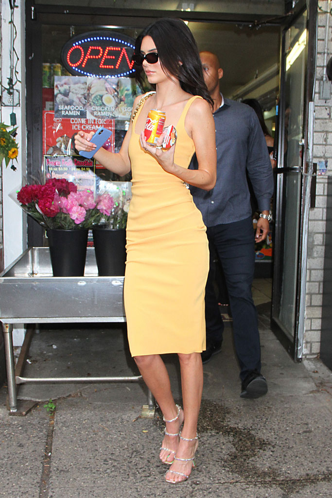 Kendall Jenner in Nude Dress and Amina Muaddis PVC Pumps