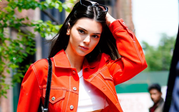 Kendall Jenner, celebrity style, street style, helmut lang, nyc, red suit, by far purse
