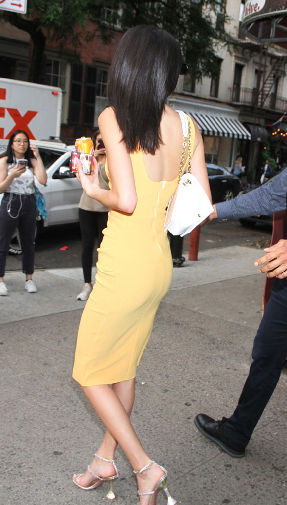 Kendall Jenner, bec + bridge orange dress, amina muaddi glinda sandals, celebrity style, street style, june 2019Kendall JennerKendall Jenner out and about, New York, USA - 17 Jun 2019