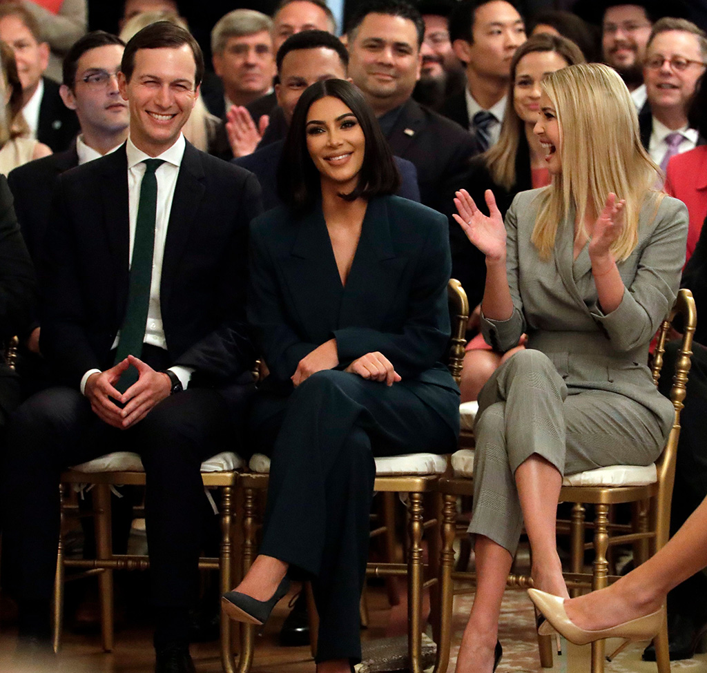 Donald Trump Kim Kardashian. White House senior adviser Jared Kushner and Ivanka Trump, right, sit with Kim Kardashian, who is among the celebrities who have advocated for criminal justice reform, as they listen to President Donald Trump speak about second chance hiring in the East Room of the White House, in WashingtonTrump Criminal Justice, Washington, USA - 13 Jun 2019