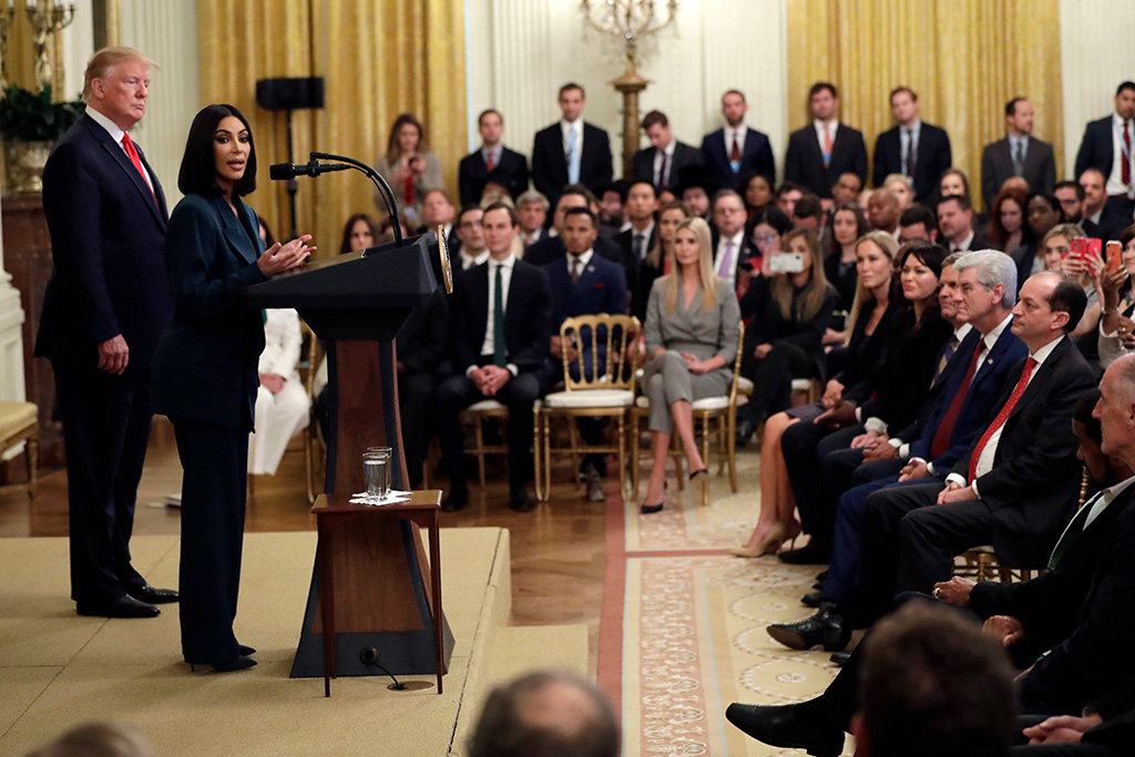 Donald Trump, Kim Kardashian West. President Donald Trump listens to Kim Kardashian West, who is among the celebrities who have advocated for criminal justice reform, speak during an event on second chance hiring in the East Room of the White House, in WashingtonTrump, Washington, USA - 13 Jun 2019