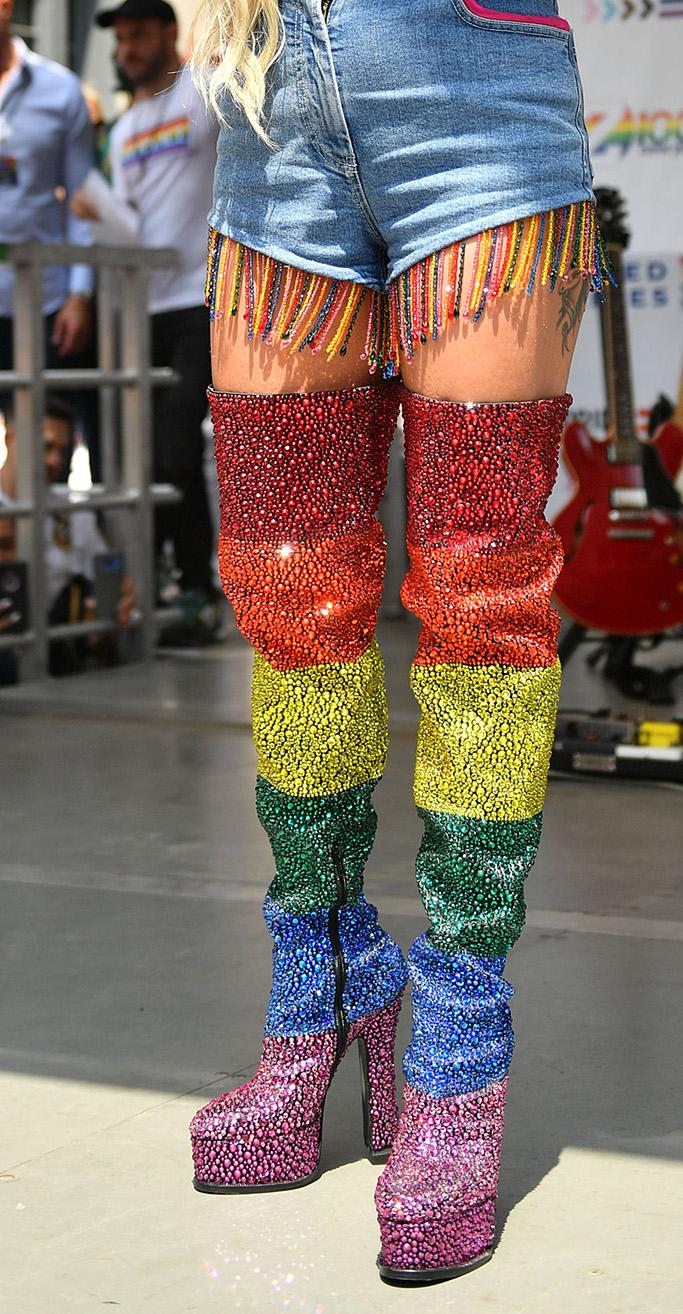 Lady Gaga, versace boots, rainbow, Z100 Pride Live Stonewall Day concert, New York, USA - 28 Jun 2019