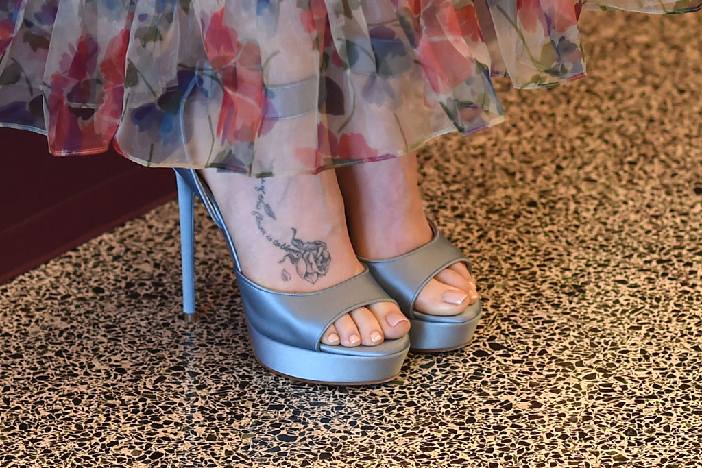 Lily Collins, jill stuart spring 2019 dress, sheer, floral, slip dress, celebrity style, givenchy sandals, 'Les Miserables' photocall, arrivals, Los Angeles, USA - 08 Jun 2019Wearing Jill Stuart, celebrity shoe style, feet, rose tattoo, celebrity tattoo, pedicure