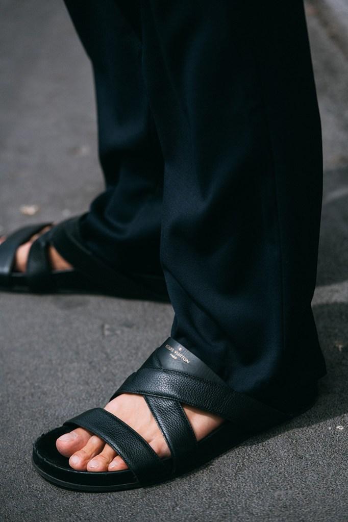 Louis Vuitton, black leather sandals, men's milan fashion week, spring 2020