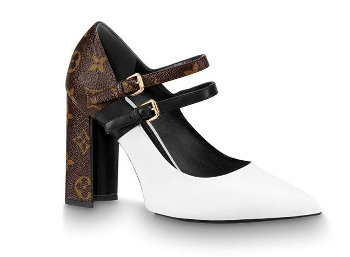 louis vuitton matchmake strap pumps, white leather, monogram, double straps, block heel