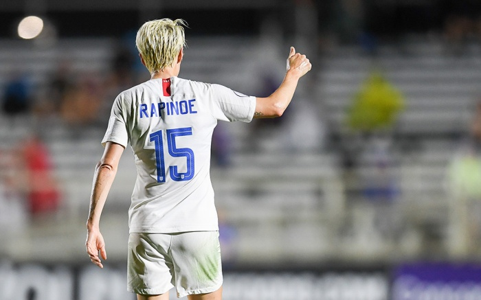 Megan RapinoeUS Women's National Team v Trinidad & Tobago, WakeMed Soccer Park, Cary, USA - 10 Oct 2018Cary, N.C. - Wednesday October 10, 2018: The women's national teams of the United States (USA) and Trinidad & Tobago (TNT) play in a 2018 CONCACAF Women?s Championship game at Sahlen?s Stadium at WakeMed Soccer Park.