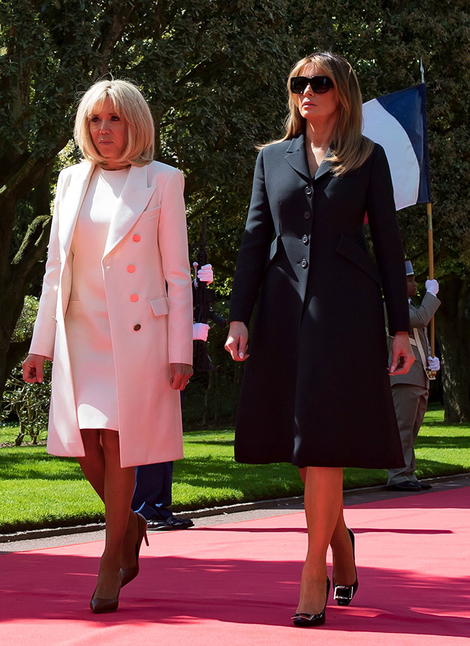 louis vuitton, roger vivier pumps, US First Lady Melania Trump (L) and Brigitte Trogneux (R) attend the French - USA Commemoration marking the 75th anniversary of the Allied landings on D-Day at the Normandy American Cemetery and Memorial in Colleville-sur-Mer, France, 06 June 2019. World leaders are attending memorial events on 06 June in Normandy, France to mark the 75th anniversary of the D-Day landings, which marked the beginning of the end of World War II in Europe.75th anniversary of the Allied landings on D-Day, Colleville-Sur-Mer, France - 06 Jun 2019