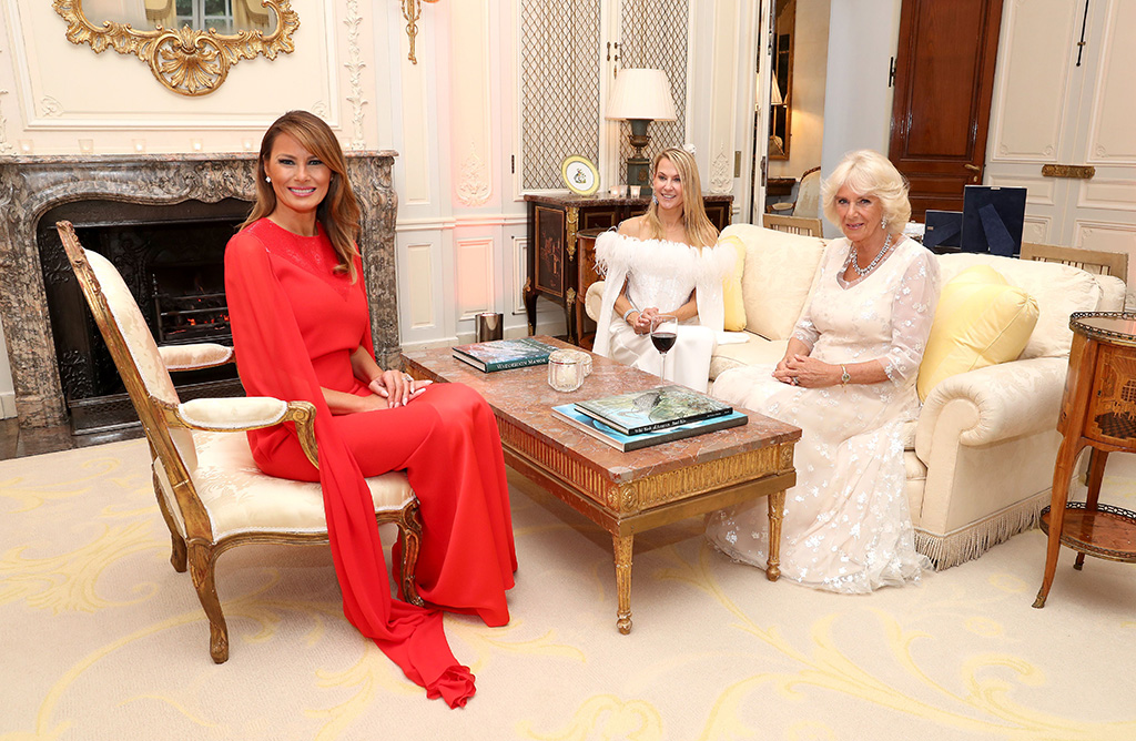 red givenchy dress, US First Lady Melania Trump, Suzanne Ircha, wife of the US Ambassador to London and Camilla, Camilla Duchess of Cornwall smile as they attend a dinner at Winfield House the U.S. ambassador's residence in central LondonPresident Trump State visit, London, UK - 04 Jun 2019