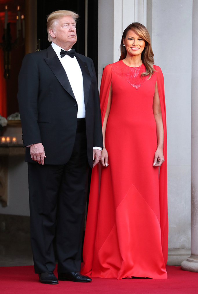 red givenchy dress, US President Donald Trump and First Lady Melania Trump pose ahead of a dinner at Winfield House for Prince Charles, Prince Charles and Camilla, Camilla Duchess of Cornwall, during their state visit on June 04, 2019 in London, England. President Trump's three-day state visit began with lunch with the Queen, followed by a State Banquet at Buckingham Palace, whilst today he attended business meetings with the Prime Minister and the Prince Andrew, before traveling to Portsmouth to mark the 75th anniversary of the D-Day landings.President Trump State visit, London, UK - 04 Jun 2019