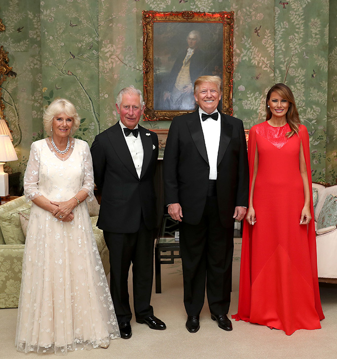 red givenchy dress, US President Donald Trump and First Lady Melania Trump host a dinner at Winfield House for Prince Charles, Prince Charles and Camilla, Camilla Duchess of Cornwall, during their state visit on June 04, 2019 in London, England. President Trump's three-day state visit began with lunch with the Queen, followed by a State Banquet at Buckingham Palace, whilst today he attended business meetings with the Prime Minister and the Prince Andrew, before traveling to Portsmouth to mark the 75th anniversary of the D-Day landings.President Trump State visit, London, UK - 04 Jun 2019