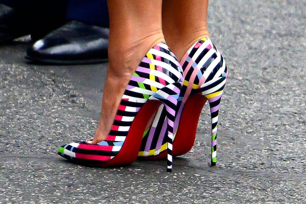 Christian Louboutin So Kate Cinestripes , melania trump, stilettos, celebrity shoe style