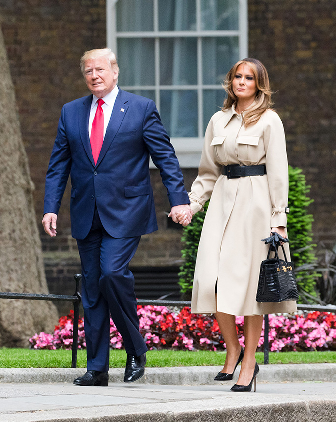 US President Donald J. Trump (L) and his wife Melania Trump (R) attend a meeting with Britain's Prime Minister Theresa May and her husband Philip May at 10 Downing Street in London, Britain, 04 June 2019. US President Trump and his wife are on a three-day official visit to Britain.State visit of US President Donald J. Trump to United Kingdom, London - 04 Jun 2019