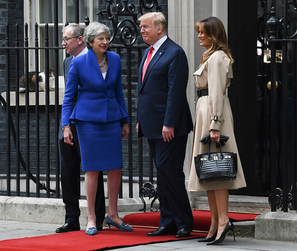 Philip May, Prime Minister Theresa May, US President Donald Trump and First Lady Melania Trump meet at No.10 Downing Street.US President Donald Trump state visit to London, UK - 04 Jun 2019