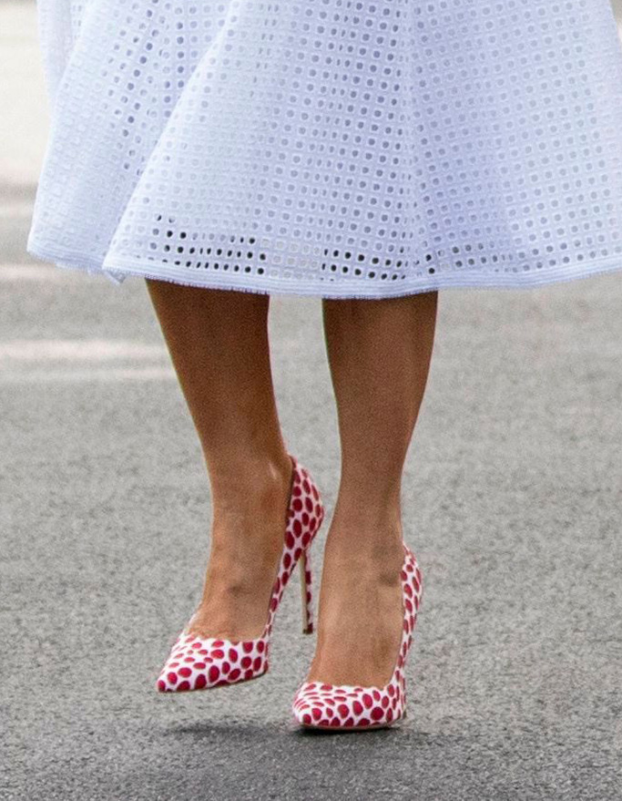 white Andrew GN eyelet dress, manolo blahnik bb pumps white with red spots,Donald Trump, Melania Trump. President Donald Trump and first lady Melania Trump walk towards members of the media before boarding Marine One on the South Lawn of the White House in Washington, for a short trip to Andrews Air Force Base, Md., and then on to Orlando, Fla. for a rallyElection 2020 Trump, Washington, USA - 18 Jun 2019