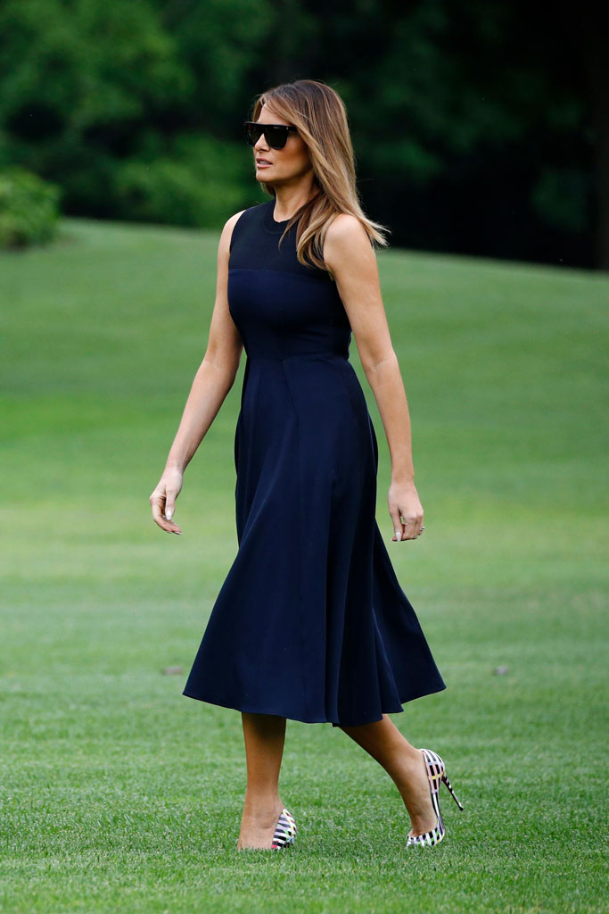melania trump, navy dress, white house, celebrity style, june 2019, christian louboutin so kate cinestripes pumps,