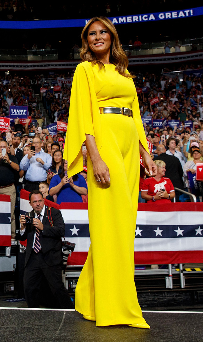 canary yellow ralph lauren dress, Caitrin jumpsuit, Donald Trump, Melania Trump. President Donald Trump and first lady Melania Trump arrive at his re-election kickoff rally at the Amway Center, in Orlando, FlaElection 2020 Trump, Orlando, USA - 18 Jun 2019
