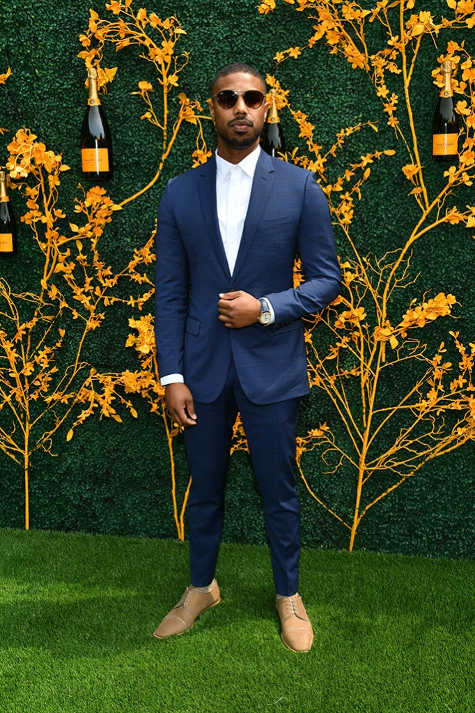 Michael B. Jordan, navy suit, tan shoes, sunglasses, men's style, celebrity style, 12th Annual Veuve Clicquot Polo Classic, Arrivals, Liberty State Park, New Jersey, USA - 01 Jun 2019