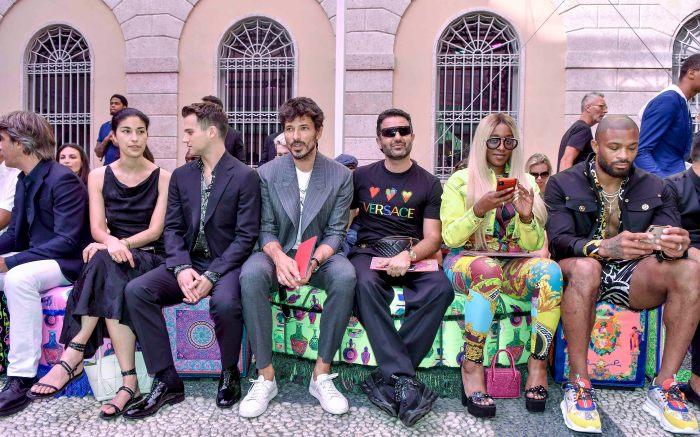Brandon Flynn, Kesha McLeod, PJ Tucker and guestsVersace show, Runway, Spring Summer 2020, Milan Fashion Week Men's, Italy - 15 Jun 2019