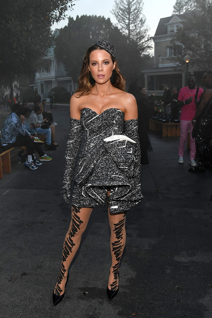 Kate Beckinsale, moschino spring 2019 minidress, celebrity style, legs, in the front rowMoschino Show, Front Row, Spring Summer 2020, Los Angeles, USA - 07 Jun 2019