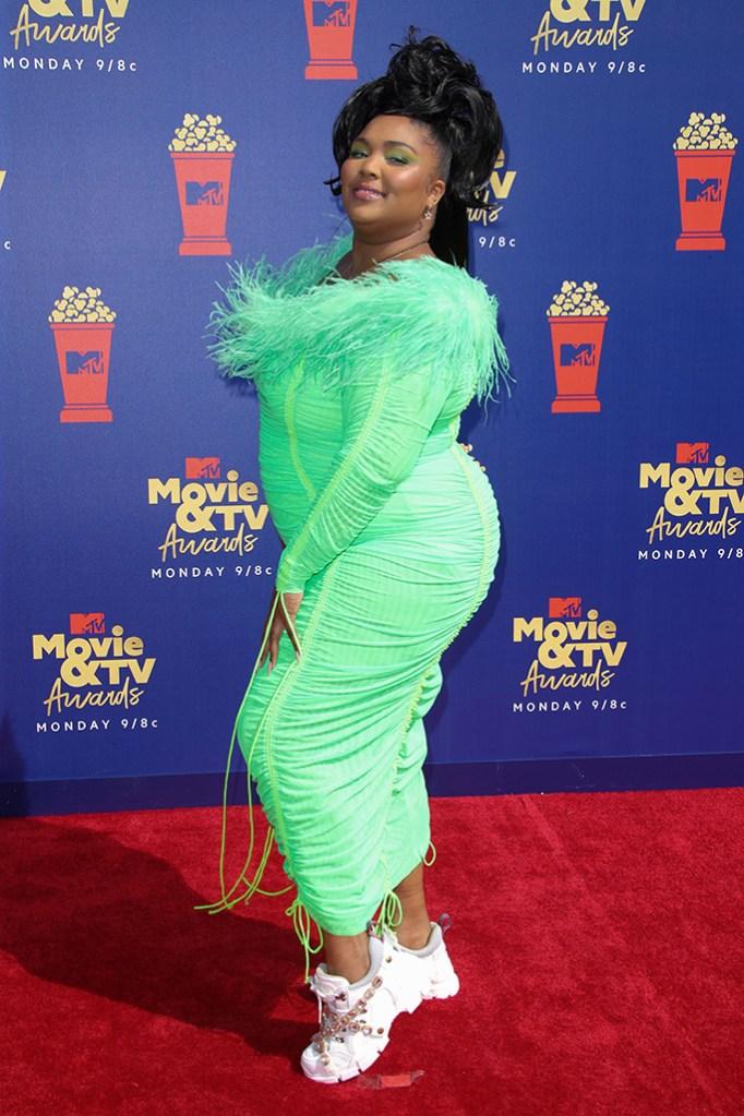 Lizzo, gucci sneakers, christopher john rogers dress, green dress, MTV Movie & TV Awards, Arrivals, Barker Hangar, Los Angeles, USA - 15 Jun 2019