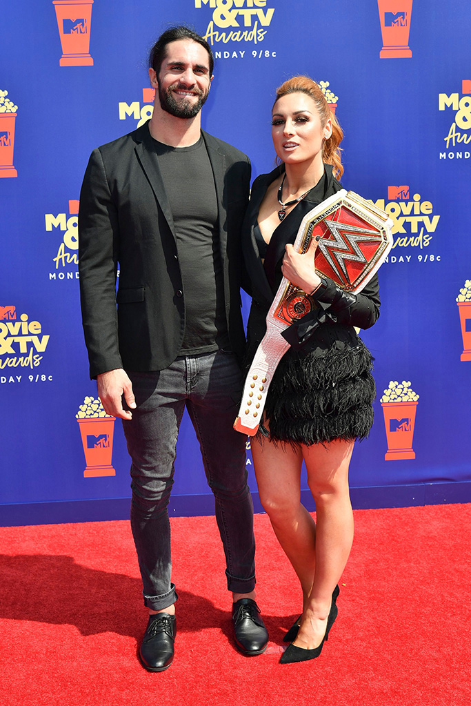 Seth Rollins and Becky LynchMTV Movie & TV Awards, Arrivals, Barker Hangar, Los Angeles, USA - 15 Jun 2019