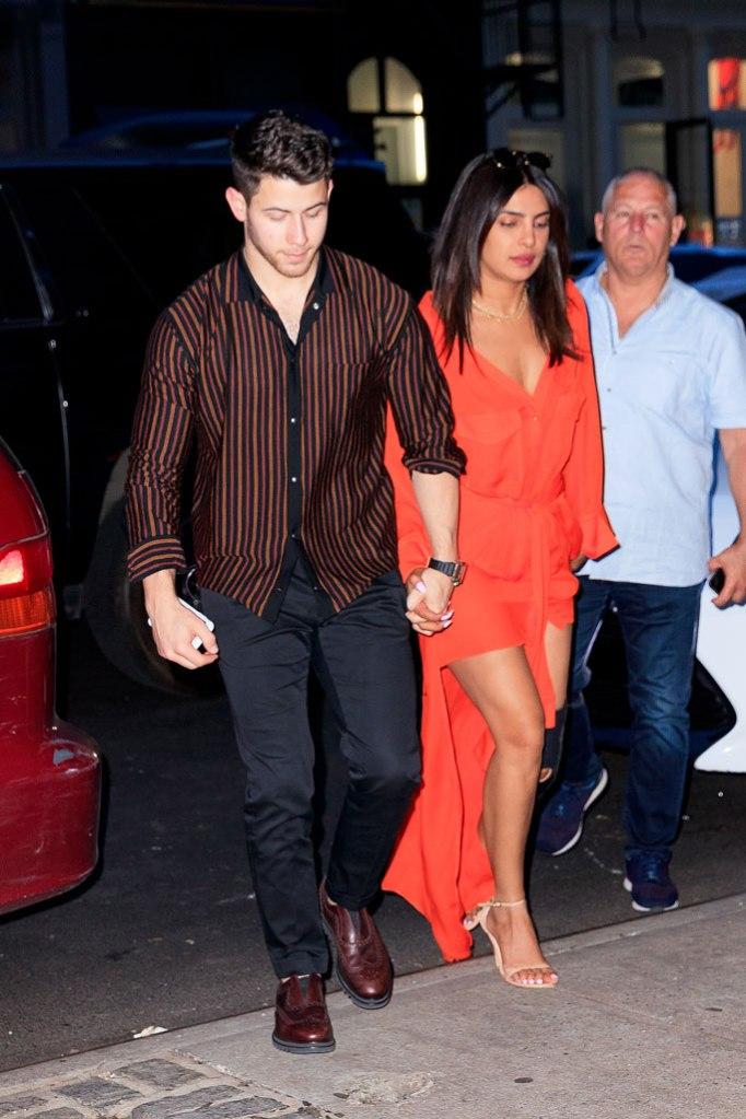 Priyanka Chopra, Nick Jonas, soho, new york, celebrity street style, stuart weitzman nudist sandal, hellessy dress, couple