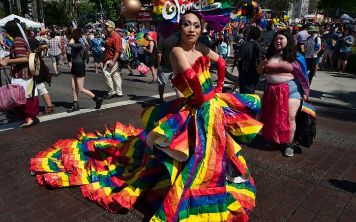Khuong Lam in an Ikea Pride bag couture gown poses for photos during the annual Pride Parade in West Hollywood, Calif. on Sunday, June 9,2019Los Angeles Pride Parade, West Hollywood, USA - 09 Jun 2019