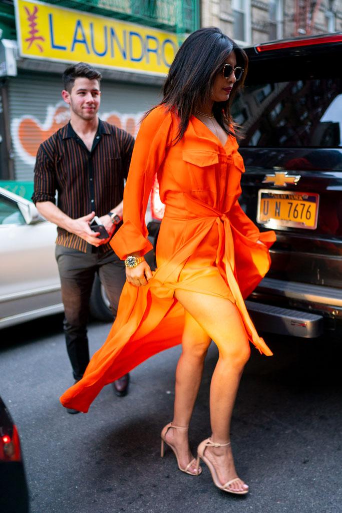 Priyanka Chopra, hellessy resort 19 dress, celebrity street style, stuart weitzman nudist sandals, new york city, nick jonas, couple's style, nyc