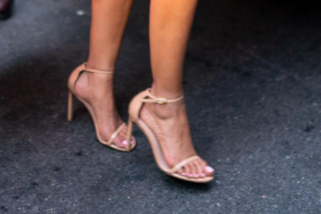 Priyanka Chopra, stuart weitzman nudist sandals, nyc, street style, pedicure, feet