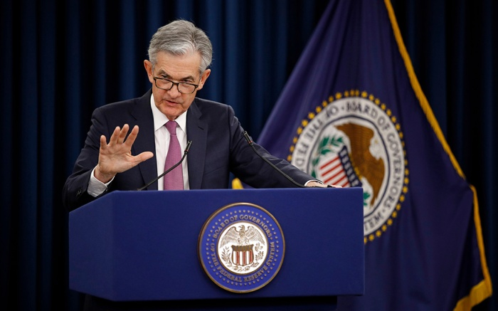 Federal Reserve Board Chair Jerome Powell speaks at a news conference following a two-day meeting of the Federal Open Market Committee, in WashingtonFederal Reserve Powell, Washington, USA - 01 May 2019