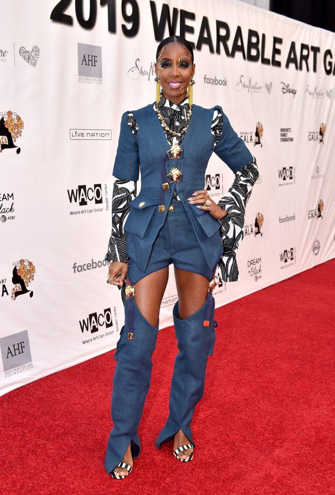 Kelly Rowland, Loza Maléombho, shorts, chaps, destiny's child, lion king, celebrity style,Wearable Art Gala, Barker Hangar, Santa Monica, Los Angeles - 01 Jun 2019