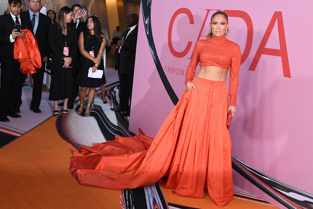 Jennifer Lopez, ralph lauren outfit, crop top, skirt, abs, CFDA Fashion Awards, Arrivals, Brooklyn Museum, New York, USA - 03 Jun 2019