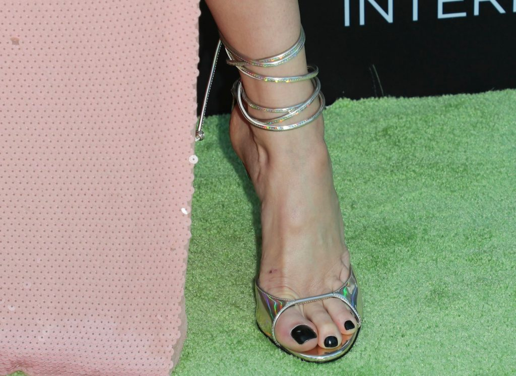 Shailene Woodley, feet, pedicure, strappy silver sandals, celebrity style, shoe detailWomen In Conservation Event, Arrivals, Milk Studios, Los Angeles - 08 Jun 2019