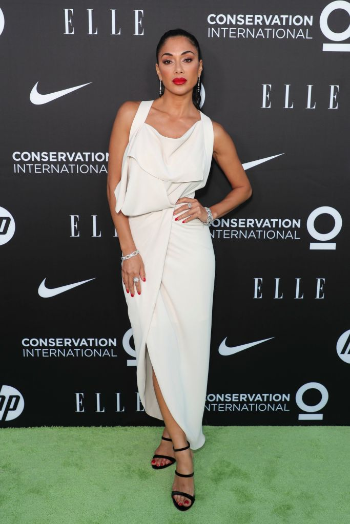 Nicole Scherzinger, black giuseppe zanotti sandals, white dress, legs, Women In Conservation Event, Arrivals, Milk Studios, Los Angeles - 08 Jun 2019