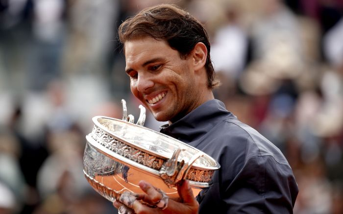 Rafael Nadal of Spain poses with the trophy after winning the men?s final match against Dominic Thiem of Austria during the French Open tennis tournament at Roland Garros in Paris, France, 09 June 2019. Nadal won the French Open title 12th times.French Open tennis tournament at Roland Garros, Paris, France - 09 Jun 2019