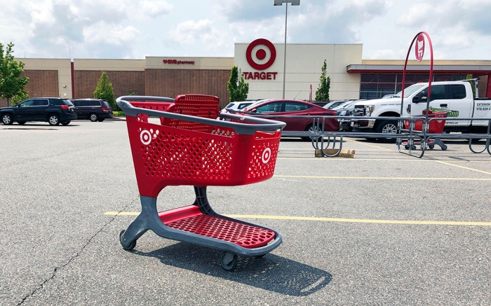 A shopping cart sits in the parking lot of a Target store in Marlborough, Mass. On Friday, June 14, the Commerce Department releases U.S. retail sales data for MayRetail Sales, Marlborough, USA - 31 May 2019