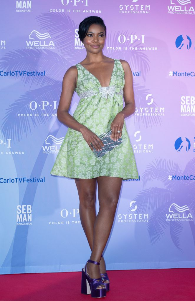 Gabrielle Union, miu miu minidress, purple platform sandals, celebrity shoe style, TV Series Party, 59th Monte Carlo Television Festival, Monaco - 15 Jun 2019